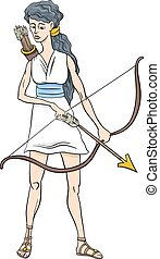 greek goddess artemis cartoon - Cartoon Illustration of...