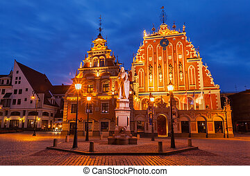 Riga Town Hall Square, House of the Blackheads and St....