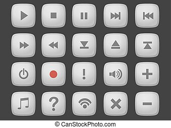Web Interface Button Vector Computer Icon Set - Set of...