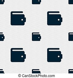 purse icon sign. Seamless pattern with geometric texture....