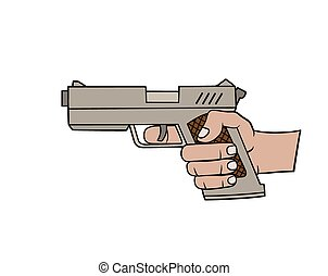 Hand with gun - This is an illustration of a hand with...