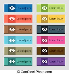 sixth sense, the eye icon sign. Set of twelve rectangular, colorful, beautiful, high-quality buttons for the site. Vector