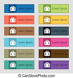 suitcase icon sign. Set of twelve rectangular, colorful, beautiful, high-quality buttons for the site. Vector