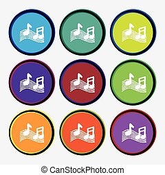 musical note, music, ringtone icon sign Nine multi colored...