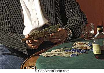poker game - detail of man play poker game, winner take the...