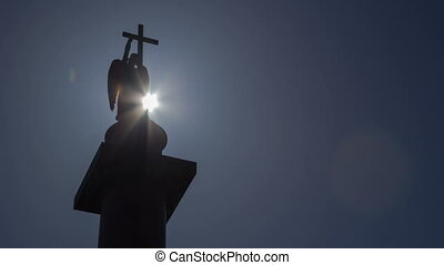 Alexander Column in Saint Petersburg sun silhouette...
