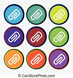 clip to paper icon sign. Nine multi colored round buttons. Vector
