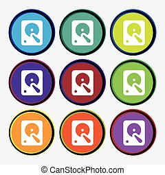 hard disk icon sign Nine multi colored round buttons Vector...