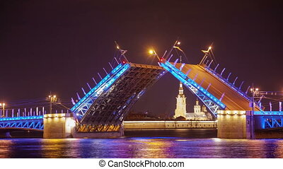 Palace drawbridge  night drawning in Saint Petersburg, Russia zoom timelapse
