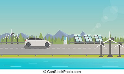 Electromobile on highway - Flat illustration of...