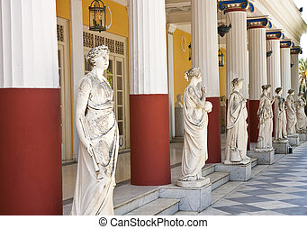 Row of Greek Statues and Columns - Statues and columns...
