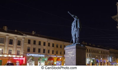 Kutuzov monument night motion timelapse