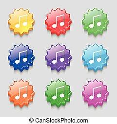 musical note, music, ringtone icon sign. symbol on nine wavy...
