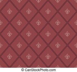 Marsala color Fleur De Lis seamless background.