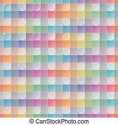 Overlap and transparent circles and squares. Colorful seamless background.