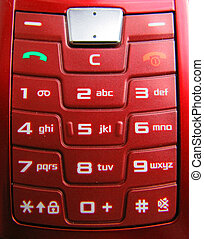 Cell Phone Keypad - A red cell phone keypad with white...