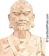 Polygon Vector of Wooden Buddha in prayer on white...