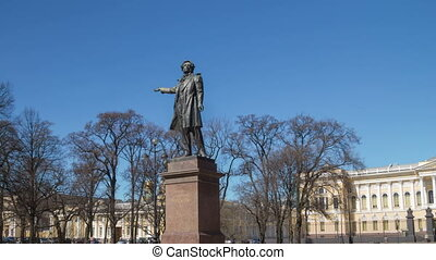 Pushkin monument sunny day motion timelapse - Pushkin...