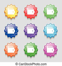purse icon sign symbol on nine wavy colourful buttons Vector...