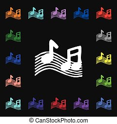musical note, music, ringtone icon sign Lots of colorful...