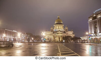 Saint Isaac's Cathedral night motion timelapse
