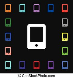 Tablet icon sign. Lots of colorful symbols for your design. Vector