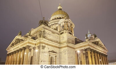 Saint Isaac's Cathedral night close motion timelapse