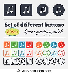 musical note, music, ringtone icon sign. Big set of...