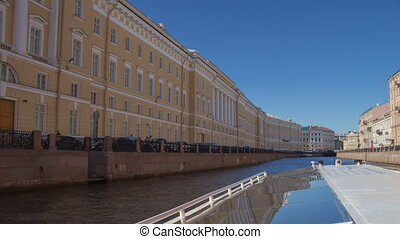 Saint Petersburg rivers boat trip motion timelapse