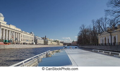 Saint Petersburg rivers day boat trip motion timelapse -...