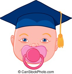 Baby head with graduation mortar - Baby head sucking a pink...