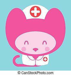 Kawaii little pink girl cat nurse doctor