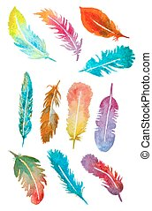 watercolor hand drawn feathers set. vector illustration