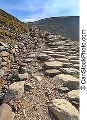 Llanberis, ścieżka, do, Snowdon, góra,