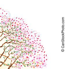 abstract watercolor branches of blossoming tree. vector illustration