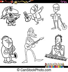 musicians cartoon coloring page - Coloring Book Cartoon...