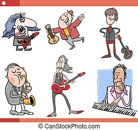 musicians characters set cartoon - Cartoon Illustration Set...