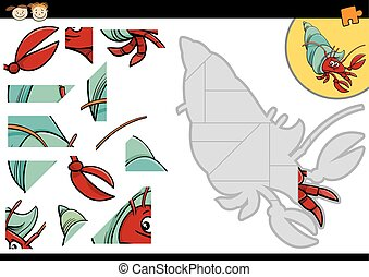cartoon hermit crab jigsaw game - Cartoon Illustration of...