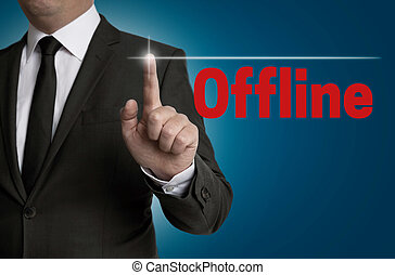 offline touchscreen is operated by businessman.
