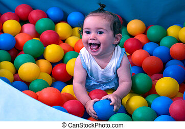 Baby play with balls in indoor soft baby playground - Little...