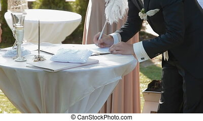 Groom signature wedding contract - Responsible step in man's...