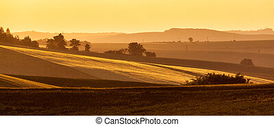 Moravian rolling landscape on sunset - Panorama of Moravian...