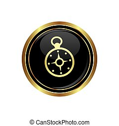 Button with compass icon