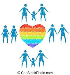 gay family symbols - Gay couples and rainbow hearts on a...
