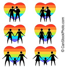 gay family - Gay couples and rainbow hearts isolated on a...