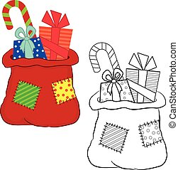 Bag with gifts. Coloring book