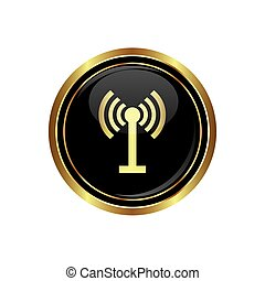 Wireless icon on the black with gold round button Vector...