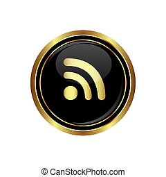 Rss icon on the black with gold round button. Vector...