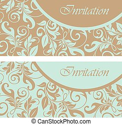 Set wedding invitation cards - Set of floral wedding...