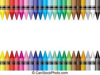 border crayon - Brightly colored crayon border with room to...